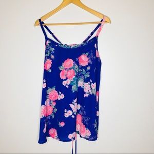 Torrid lace up back floral tank top NWT